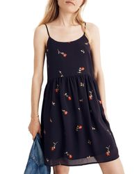 Madewell - Blue Embroidered Babydoll Camisole Dress - Lyst