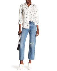 Rag & Bone Blue Distressed Straight Leg Jeans