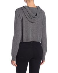 MILLY - Gray Cashmere Cropped Hoodie - Lyst