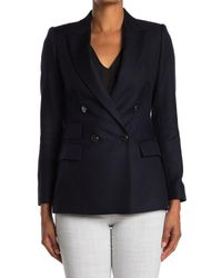 Reiss Blue Twill Double Breasted Blazer
