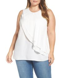 Vince Camuto - White Tiered Ruffle Front Blouse - Lyst