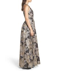 Eliza J - Embellished Metallic Jacquard Ball Gown - Lyst