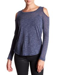 Splendid - Blue Cold Shoulder Slub Knit Top - Lyst