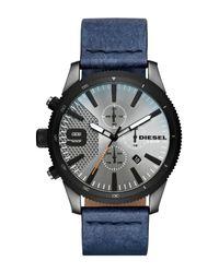 DIESEL - Multicolor Men's Rasp Chrono 46 Gunmetal Ip And Denim Leather Chronograph Watch, 46mm X 54mm for Men - Lyst