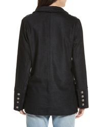 Free People - Black Sweater-front Jacquard One-button Blazer Jacket - Lyst
