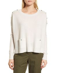 Nordstrom Natural Button Detail Cashmere Sweater