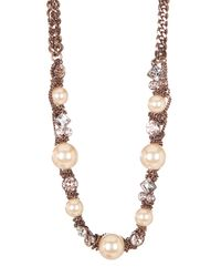 Givenchy | Metallic Simulated Pearl Chainlink Long Necklace | Lyst