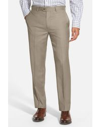 Bensol Gray Gab Trim Fit Flat Front Pants for men