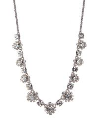 Marchesa - Metallic Crystal Accented Floral Necklace - Lyst