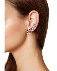 Marchesa - Gray Crystal & Simulated Pearl Mismatched Crawler Earrings - Lyst