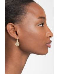 Marchesa - Metallic 'sunrise' Swarovski Crystal Drop Earrings - Lyst