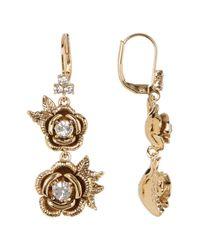 Marchesa | Metallic Floral Drop Earrings | Lyst