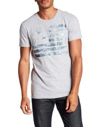 William Rast | Gray Washed Flag Graphic Tee for Men | Lyst