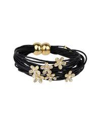 Saachi | Black Flower Charm String Bracelet | Lyst
