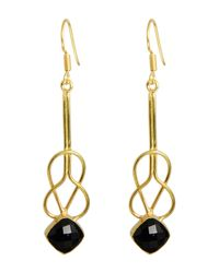 Saachi | Metallic 18k Gold Clad Faceted Black Onyx Layered Square Earrings | Lyst