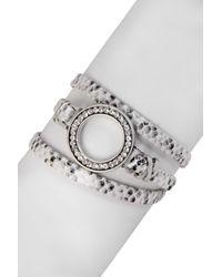 Saachi - Metallic Snakeskin Embossed Faux Leather Wrap Bracelet - Lyst