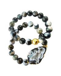 Saachi Multicolor Open Agate Semi Precious Stone Bracelet Set
