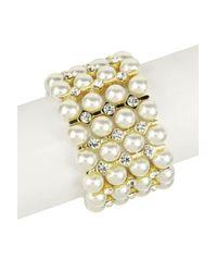 Saachi - White Imitation Pearl & Crystal Layer Stretch Bracelet - Lyst