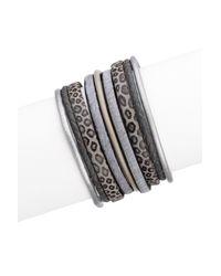 Saachi - Black Gunmetal Braided Multi-cord Leather & Faux Hair Bracelet - Lyst