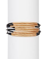 Saachi - Black Twisted Tubes Leather Bracelet - Lyst