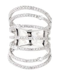 Saachi - Metallic Silver Sprung Crystal Ring - Lyst