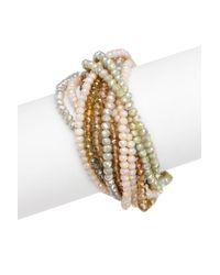 Saachi | Metallic Champagne Glass Crystal Bundle Bracelet | Lyst