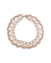 Saachi | Natural Champagne Floral Crochet Necklace | Lyst