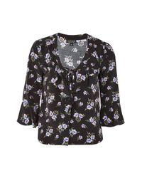 TOPSHOP | Black Floral Lattice Ruffle Blouse | Lyst