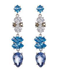 Judith Jack | Metallic Sterling Silver Multicolor Crystal & Marcasite Drop Earrings | Lyst