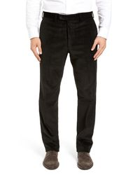 JB Britches - Black Flat Front Stretch Corduroy Trousers for Men - Lyst