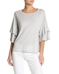 Lush   Gray Tiered Ruffle Sleeve Shirt   Lyst