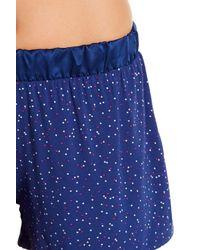 Maidenform Blue Satin Lined Tee & Shorts Pajama Set