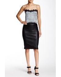 Scoop | Black Stretch Lamb Skirt | Lyst