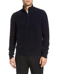 Vince Blue Cashmere Quarter Zip Sweater for men