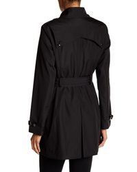 Via Spiga - Black Double Breasted Bonded Trench Coat - Lyst