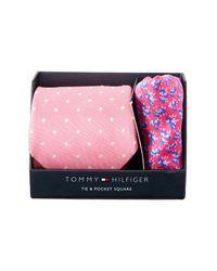 Tommy Hilfiger - Pink Dot & Flower Tie & Pocket Square Set for Men - Lyst