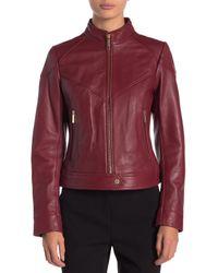 MICHAEL Michael Kors - Red Zip Front Scuba Leather Jacket - Lyst