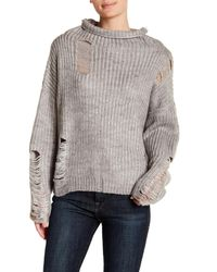 Lush Gray Distressed Mock Neck Sweater