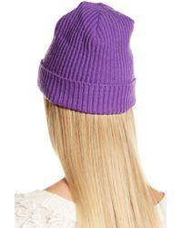 Portolano - Purple Black Cashmere Ribbed Cuffed Beanie - Lyst