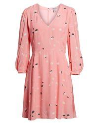 Chelsea28 Pink V-neck Puff Sleeve Dress