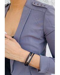 Liza Schwartz Multicolor Textured Bead Braided Leather Triple Wrap Bracelet