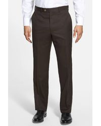 JB Britches Brown Flat Front Worsted Wool Trousers for men