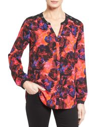 NYDJ | Multicolor Long Sleeve Mix Print Blouse | Lyst