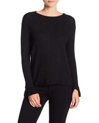Michael Stars - Black Flared Long Sleeve Crew Neck Tee - Lyst