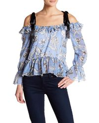 Romeo and Juliet Couture Blue Cold Shoulder Ruffle Trim Print Blouse
