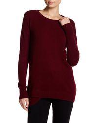 Sofia Cashmere Red Cashmere Split Rib Hem Sweater