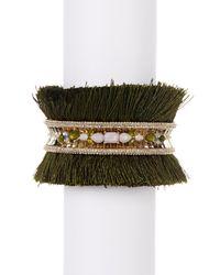 Jenny Packham - Metallic Crystal & Stone Tassel Cuff Bracelet - Lyst