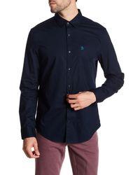 Original Penguin Blue Long Sleeve Slim Fit Stretch Shirt for men