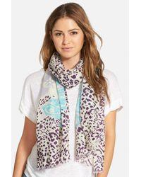 La Fiorentina - Blue Mixed Print Wool Scarf - Lyst