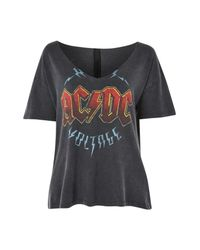TOPSHOP - Black Ac/dc Relaxed V-neck Tee - Lyst